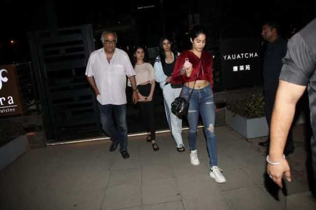 Boney Kapoor Takes His Daughters Out For Dinner