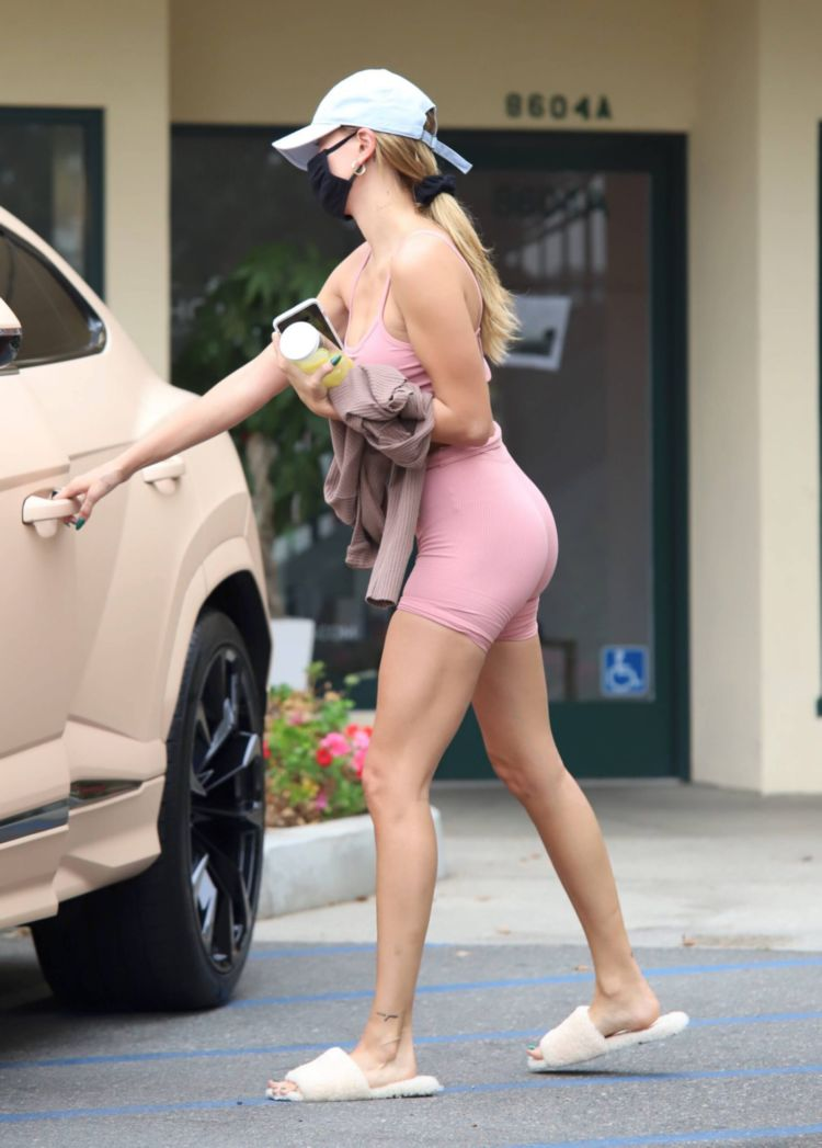 Hailey Bieber Candids In Shorts Out In West Hollywood