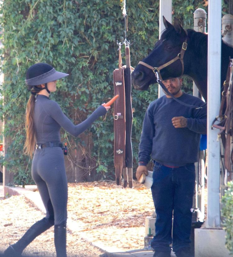 Kendall Jenner Riding A Horse In A Jumpsuit In Malibu