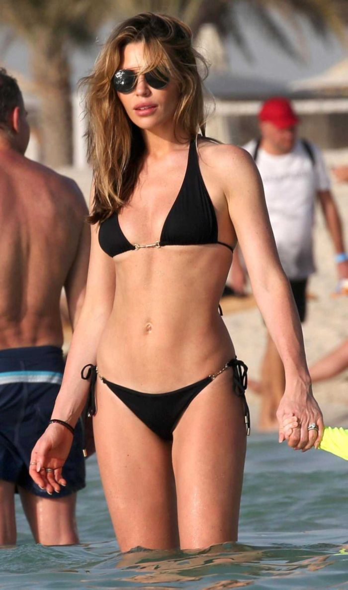 Abbey Clancy In A Black Bikini At The Beach In Dubai