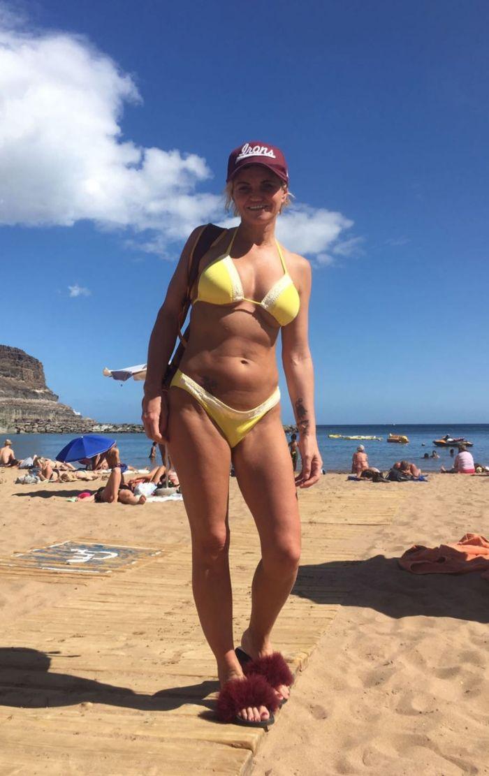 Danniella Westbrook Holidaying In Bikini On A Beach