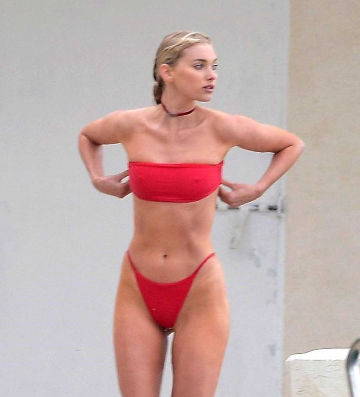 Elsa Hosk In A Red Bikini At The Pool