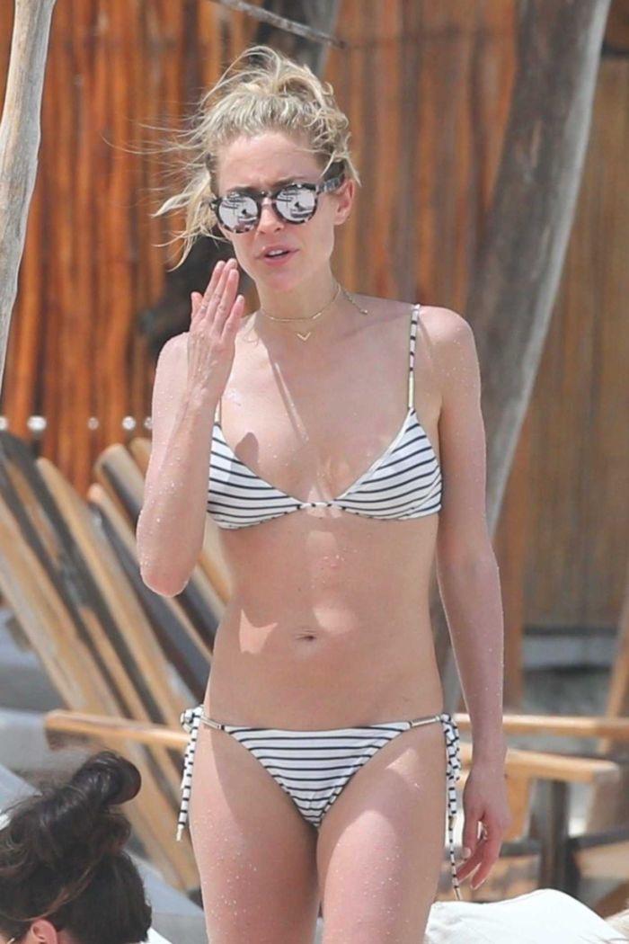 Kristin Cavallari In A Striped Bikini At The Beach